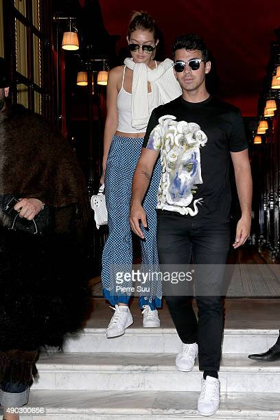 Gigi Hadid and Joe Jonas leaves the Costes Hotel with her Boyfriend Joe Jonas on September 27 2015 in Paris France