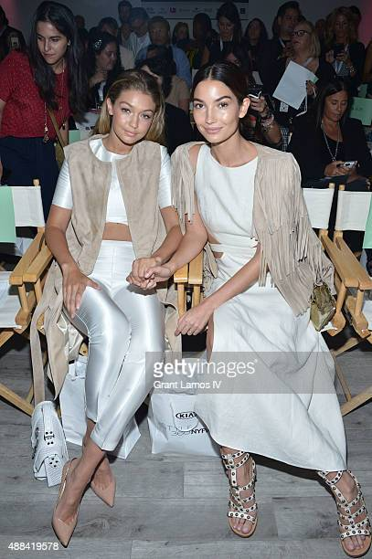 Gigi Hadid and Lily Aldridge attend the Serena Williams Signature Statement by HSN  show during Spring 2016 Style360 on September 15 2015 in New York...