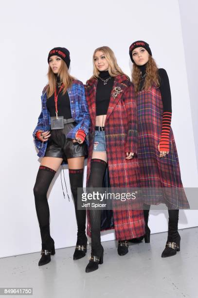 Gigi Hadid and models backstage ahead of the Tommy Hilfiger TOMMYNOW Fall 2017 Show during London Fashion Week September 2017 at the Roundhouse on...