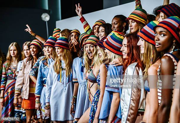 Gigi Hadid and Models backstage at the Tommy Hilfiger Women's show during Spring 2016 New York Fashion Week at Pier 36 on September 14 2015 in New...