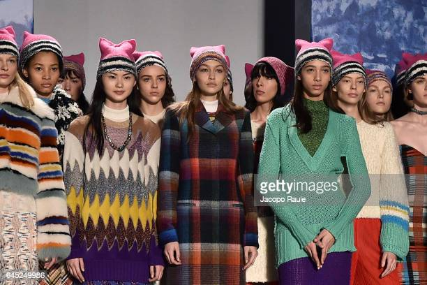 Gigi Hadid and models walk the runway at the Missoni show during Milan Fashion Week Fall/Winter 2017/18 on February 25 2017 in Milan Italy