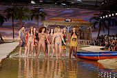 Gigi Hadid and Models walk the runway at the Tommy Hilfiger Spring Summer 2016 fashion show during New York Fashion Week on September 14 2015 in New...
