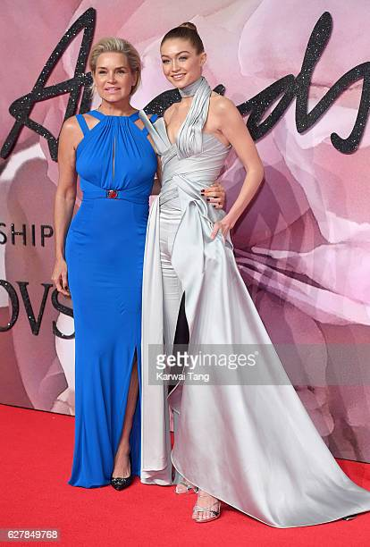 Gigi Hadid and mother Yolanda attend The Fashion Awards 2016 at the Royal Albert Hall on December 5 2016 in London United Kingdom