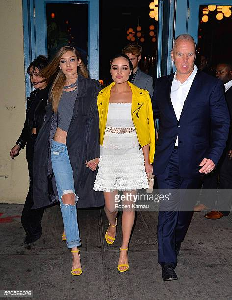 Gigi Hadid and Olivia Culpo arrive at Sadelle's restaurant for the Stuart Weitzman Event on April 11 2016 in New York City