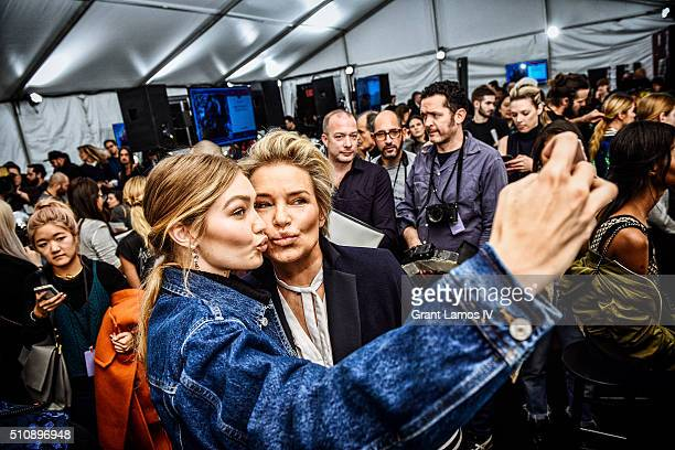 Gigi Hadid and Yolanda Foster pose backstage at the Tommy Hilfiger Women's Fall 2016 show during New York Fashion Week The Shows at Park Avenue...