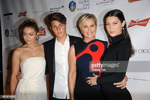 Gigi Hadid Anwar Hadid Yolanda Foster and Bella Hadid attend 2015 Global Lyme Alliance Gala at Cipriani 42nd Street on October 8 2015 in New York City
