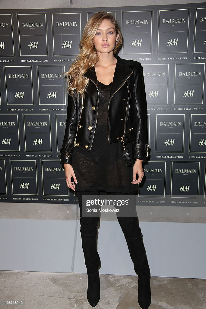 Gigi Hadid arrives at the BALMAIN X H&M collection launch event at 23 Wall Street on October 20, 2015 in New York City.