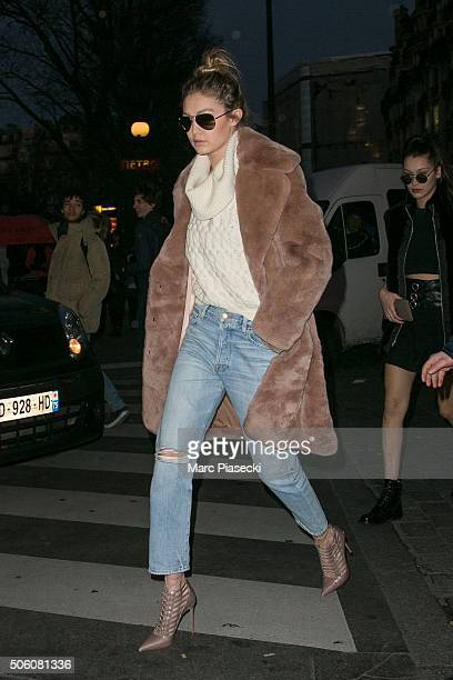 Gigi Hadid arrives at the 'Bon Marche' department store on January 21 2016 in Paris France