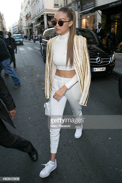 Gigi Hadid arrives at the 'COLETTE' store on October 1 2015 in Paris France