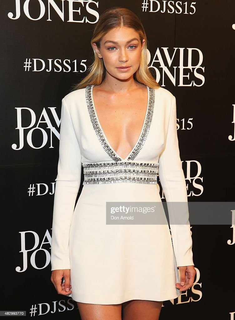 Gigi Hadid arrives at the David Jones Spring/Summer 2015 Fashion Launch on August 5 2015 in Sydney Australia
