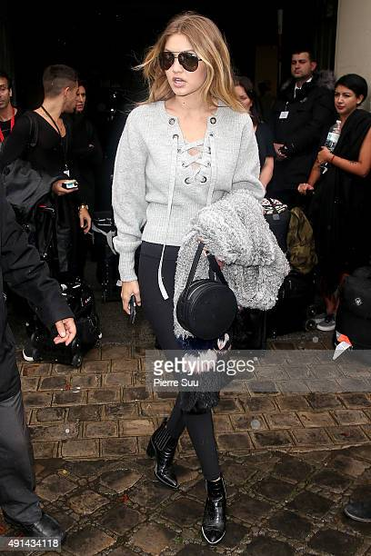 Gigi Hadid arrives at the Giambattista Valli show as part of the Paris Fashion Week Womenswear Spring/Summer 2016 on October 5 2015 in Paris France