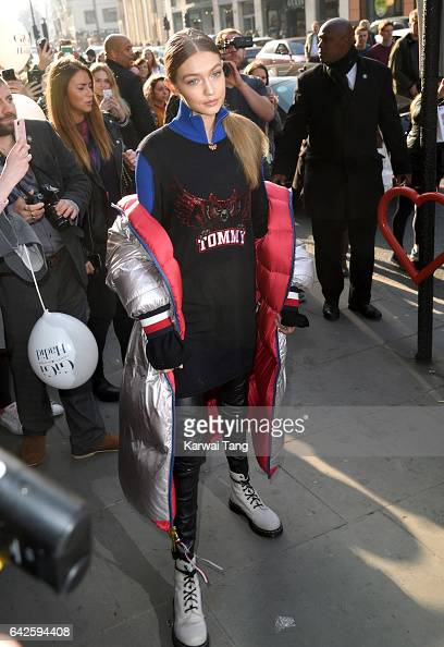 Gigi Hadid arrives to launch her spring 2017 TommyXGigi capsule collection designed with Tommy Hilfiger at the Brompton Road store on February 18...