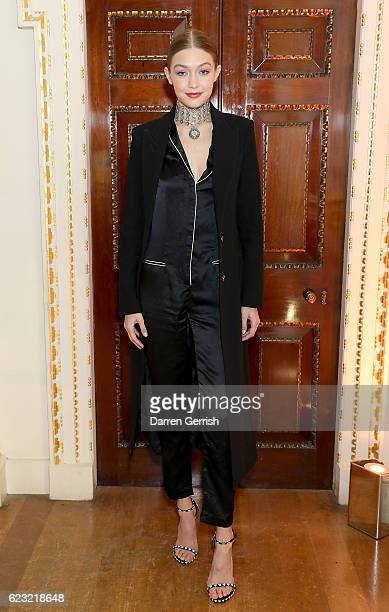 Gigi Hadid attends a private dinner hosted by Stuart Weitzman and Gigi Hadid to celebrate the opening of the Stuart Weitzman London Flagship Store at...