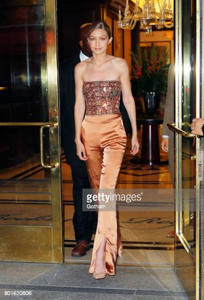 Gigi Hadid attends a private event to honor Anna Wintour being appointed a Dame Commander of the Order of the British Empire on June 26 2017 in New...