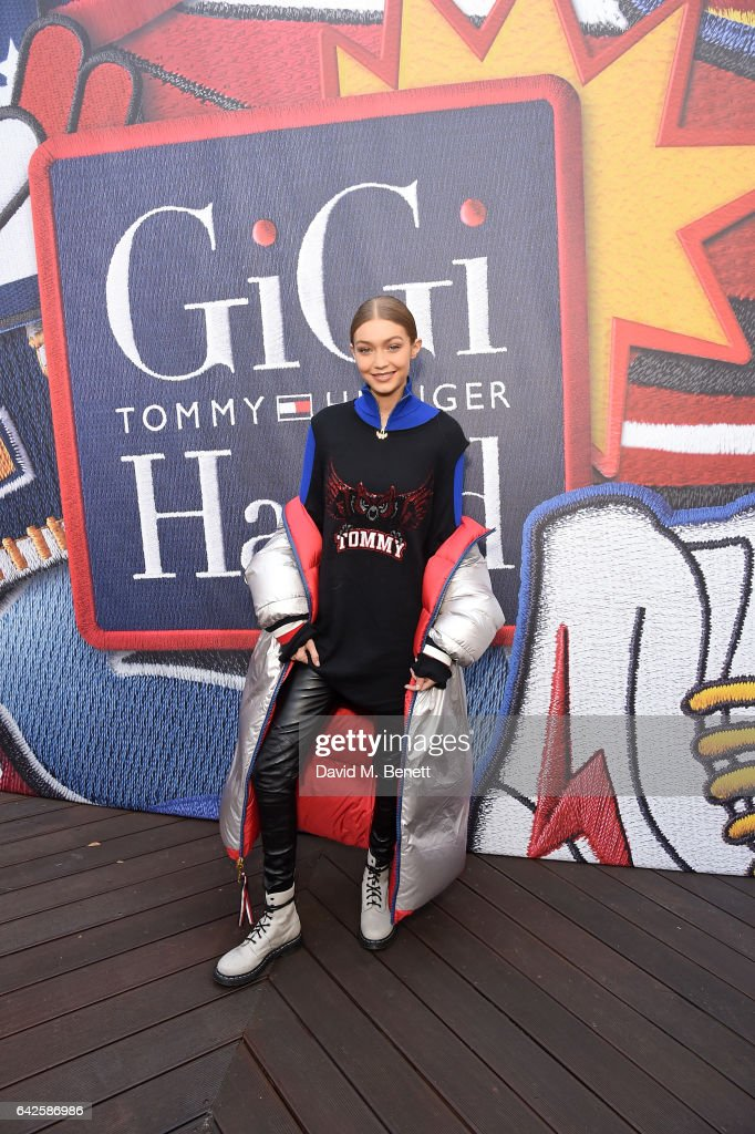 Gigi Hadid attends as model Gigi Hadid launches her spring 2017 TommyXGigi capsule collection designed with Tommy Hilfiger at the Tommy Hilfiger Flagship Store during the London Fashion Week February 2017 collections on February 18, 2017 in London, England.