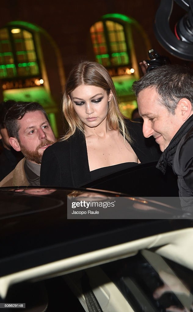 Gigi Hadid attends at the Versace fashion show as part of Paris Fashion Week Haute Couture Spring/Summer 2016 on January 24, 2016 in Paris, France.