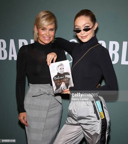 Gigi Hadid attends her mother Yolanda Hadid's book signing of 'Believe Me My Battle with the Invisible Disability of Lyme Disease' at Barnes Noble...