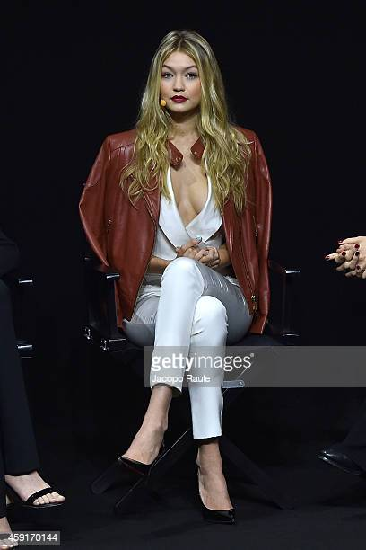 Gigi Hadid attends the 2015 Pirelli Calendar Press Conference on November 18 2014 in Milan Italy