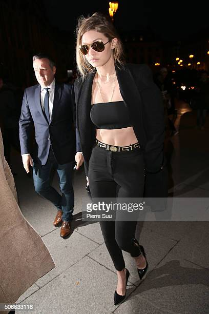 Gigi Hadid attends the Versace Haute Couture Spring Summer 2016 show as part of Paris Fashion Week on January 24 2016 in Paris France