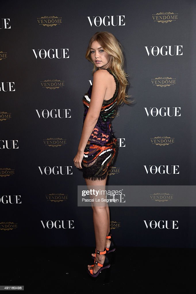 Gigi Hadid attends the Vogue 95th Anniversary Party on October 3 2015 in Paris France