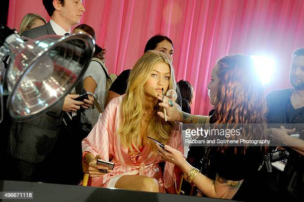 Gigi Hadid backstage at the 2015 Victoria's Secret Fashion Show at Lexington Armory on November 10 2015 in New York City