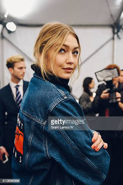 Gigi Hadid backstage at the Tommy Hilfiger Women's Fall 2016 show during New York Fashion Week The Shows at Park Avenue Armory on February 15 2016 in...