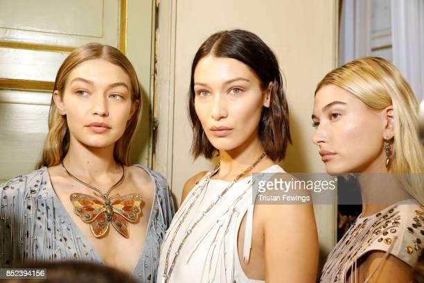 Gigi Hadid Bella Hadid and Hailey Baldwin are seen backstage ahead of the Bottega Veneta show during Milan Fashion Week Spring/Summer 2018 on...