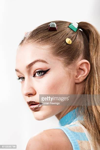 Gigi Hadid is seen backstage ahead of the Fendi show during Milan Fashion Week Spring/Summer 2017 on September 22 2016 in Milan Italy