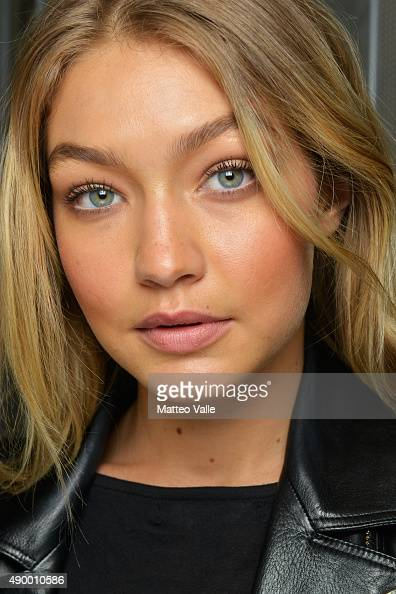 Gigi Hadid is seen backstage ahead of the Versace show during Milan Fashion Week Spring/Summer 2016 on September 25 2015 in Milan Italy