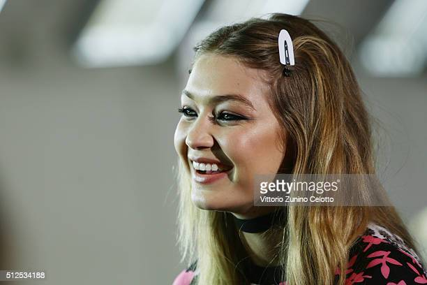 Gigi Hadid is seen backstage ahead of the Versace show during Milan Fashion Week Fall/Winter 2016/17 on February 26 2016 in Milan Italy