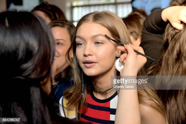 Gigi Hadid is seen backstage at TommyLand Tommy Hilfiger Spring 2017 Fashion Show on February 8 2017 in Venice California