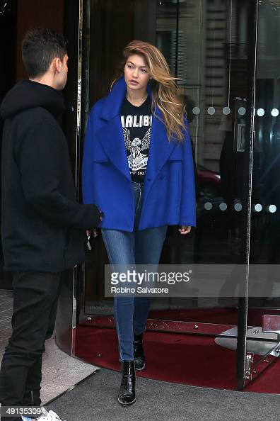 Gigi Hadid is seen during the Paris Fashion Week Ready To Wear S/S 2016 Day Six on October 4 2015 in Paris France