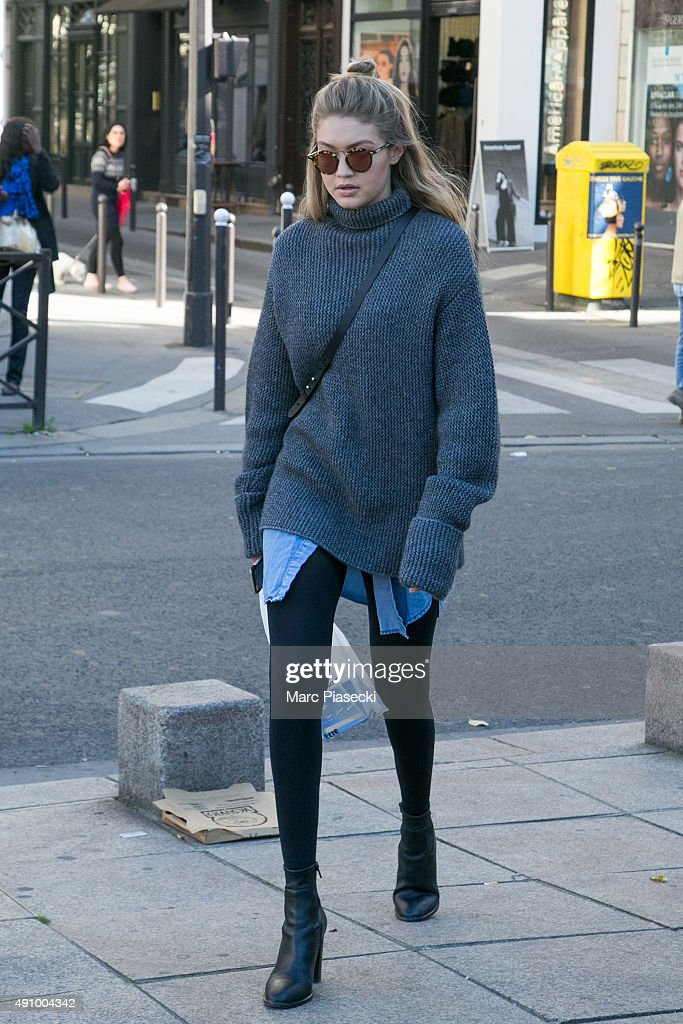 Gigi Hadid is seen in the 'Saint Germain des Pres' quarter on October 2 2015 in Paris France