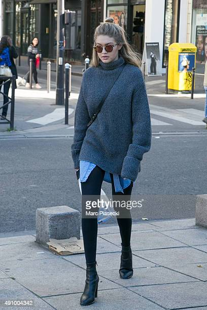 Gigi Hadid is seen in the 'Saint Germain des Pres' quarter on October 2 2015 in Paris France