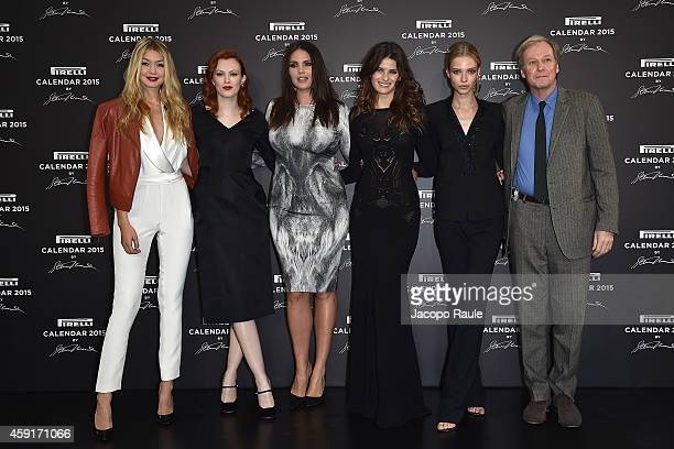 Gigi Hadid Karen Elson Candice Huffine Isabeli Fontana and Sasha Luss attend the 2015 Pirelli Calendar Press Conference on November 18 2014 in Milan...