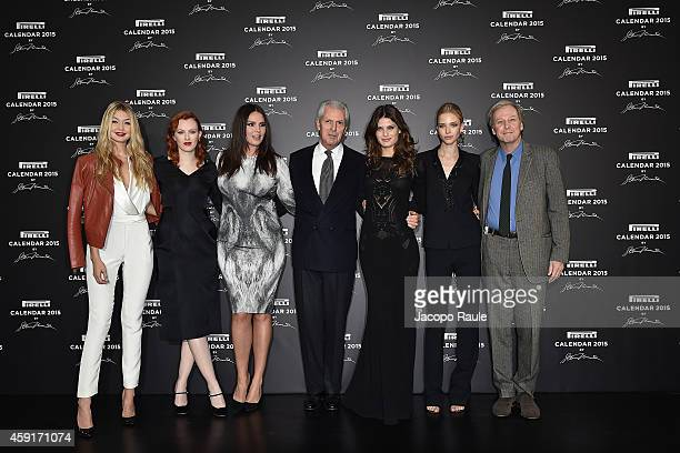 Gigi Hadid Karen Elson Candice Huffine Marco Tronchetti Provera Isabeli Fontana and Sasha Luss attend the 2015 Pirelli Calendar Press Conference on...