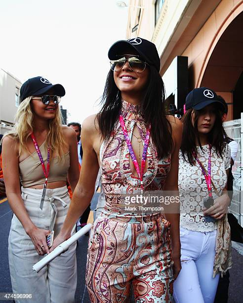 Gigi Hadid Kendall Jenner and Bella Hadid make their way to the grid during the Monaco Formula One Grand Prix at Circuit de Monaco on May 24 2015 in...
