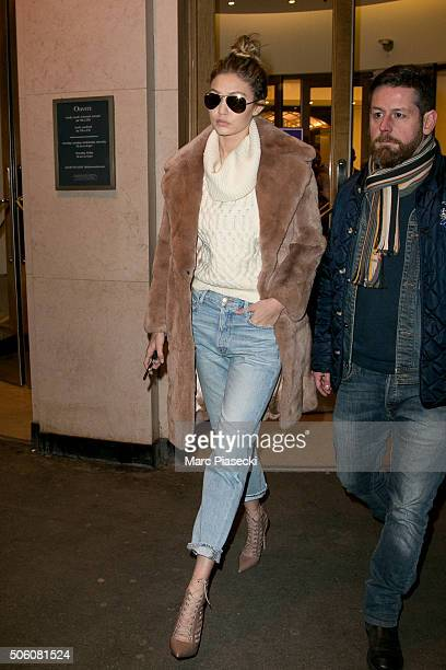Gigi Hadid leaves the 'Bon Marche' department store on January 21 2016 in Paris France