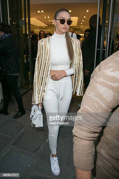 Gigi Hadid leaves the 'COLETTE' store on October 1 2015 in Paris France