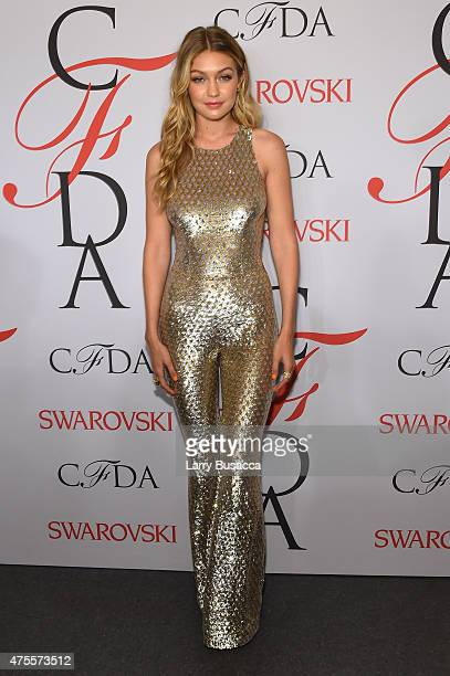 Gigi Hadid poses on the winners walk at the 2015 CFDA Fashion Awards at Alice Tully Hall at Lincoln Center on June 1 2015 in New York City