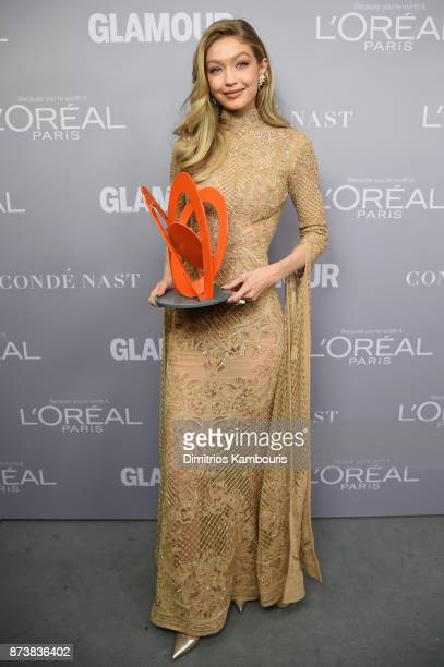 Gigi Hadid poses with an award at Glamour's 2017 Women of The Year Awards at Kings Theatre on November 13 2017 in Brooklyn New York