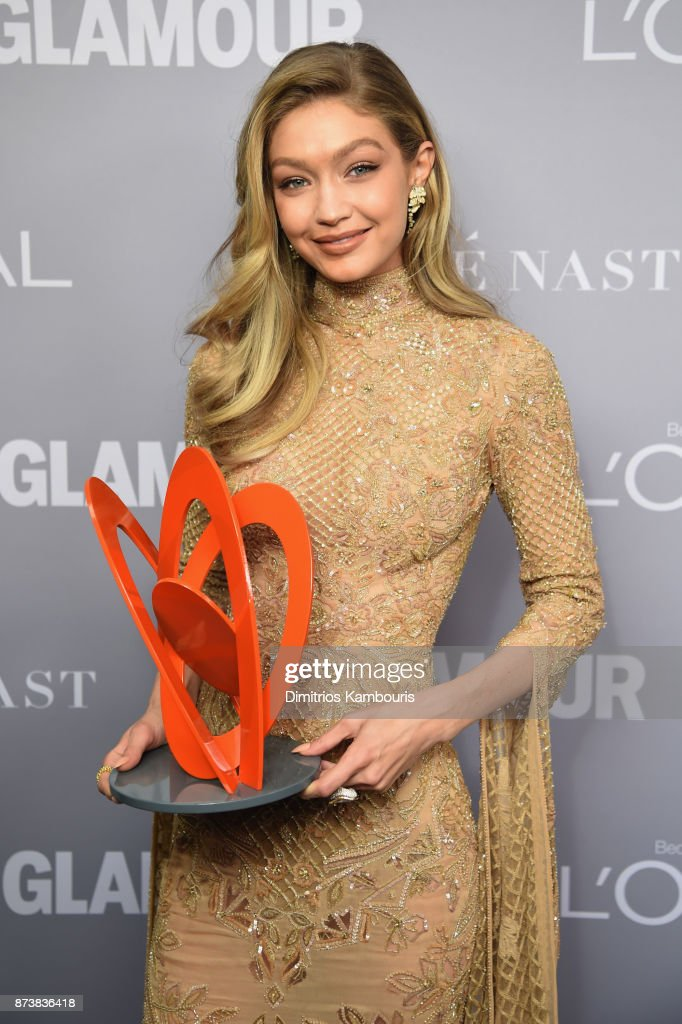 Gigi Hadid poses with an award at Glamour's 2017 Women of The Year Awards at Kings Theatre on November 13, 2017 in Brooklyn, New York.