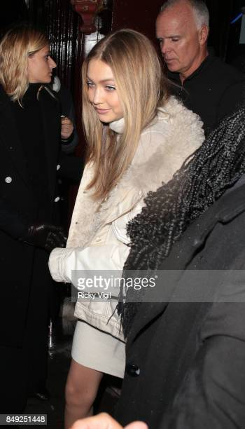 Gigi Hadid seen at Miu Miu X LOVE Magazine party at No 5 Hertford Street during London Fashion Week September 2017 on September 18 2017 in London...