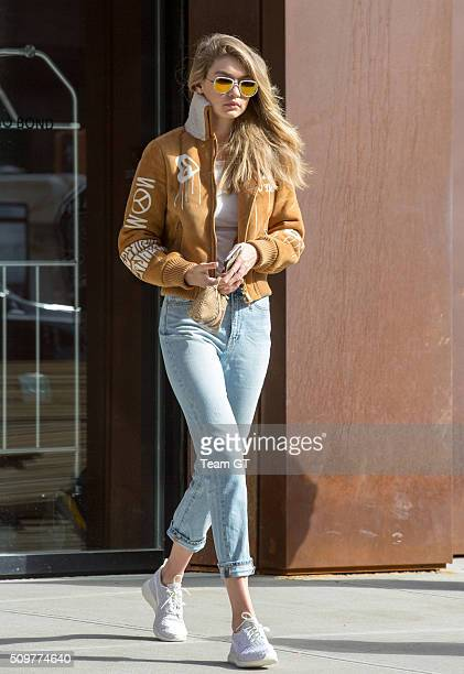 Gigi Hadid seen her apartment building morning after she attended Keyne West concert in New York City USA