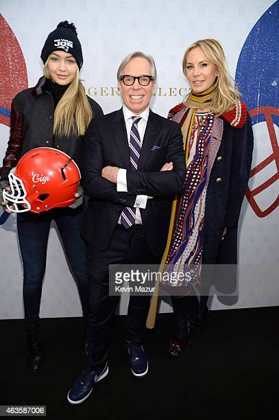 Gigi Hadid Tommy Hilfiger and Dee Hilfiger backstage at Tommy Hilfiger Women's Collection during MercedesBenz Fashion Week Fall 2015 at Park Avenue...