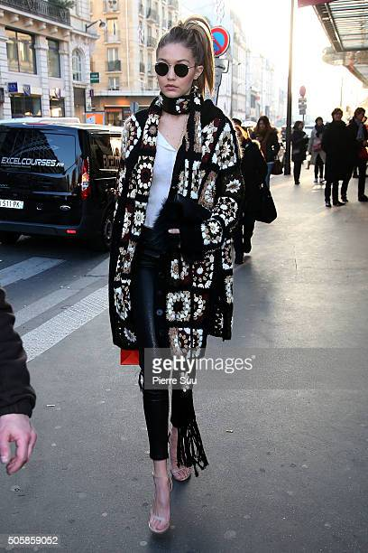 Gigi Hadid visits 'Le Bon Marche' departement store on January 20 2016 in Paris France