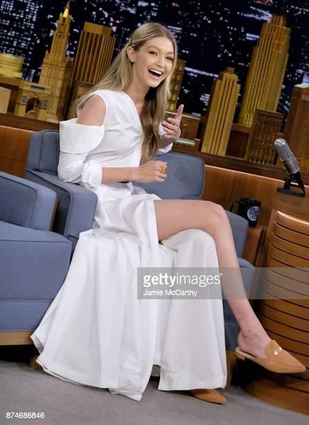Gigi Hadid visits 'The Tonight Show Starring Jimmy Fallon' at Rockefeller Center on November 15 2017 in New York City