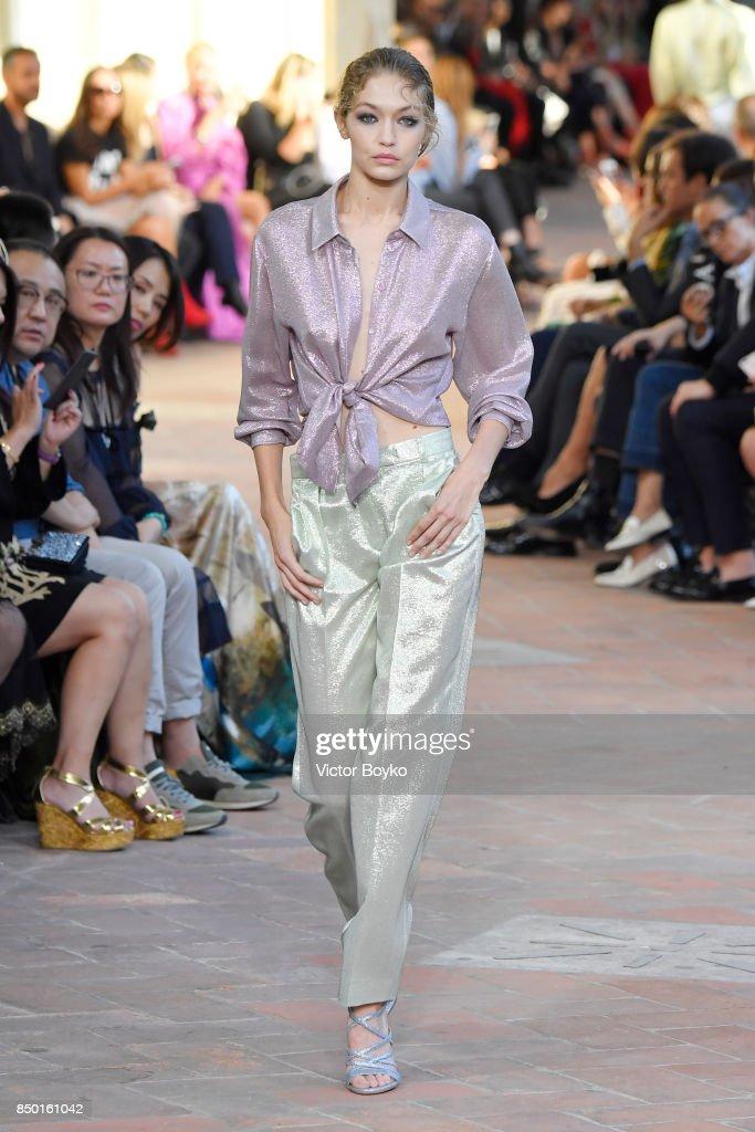 Gigi Hadid walks the runway at the Alberta Ferretti show during Milan Fashion Week Spring/Summer 2018 on September 20, 2017 in Milan, Italy.