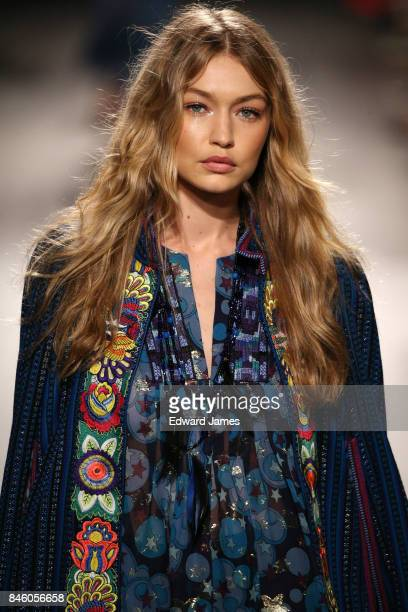Gigi Hadid walks the runway at the Anna Sui Spring/Summer 2018 fashion show during New York fashion week on September 11 2017 in New York City