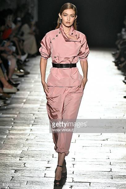 Gigi Hadid walks the runway at the Bottega Veneta designed by Thomas Maier Ready to Wear show during Milan Fashion Week Spring/Summer 2017 on...